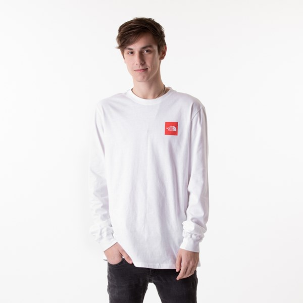 alternate image alternate view Mens The North Face Red Box Long Sleeve Tee - White / RedALT1