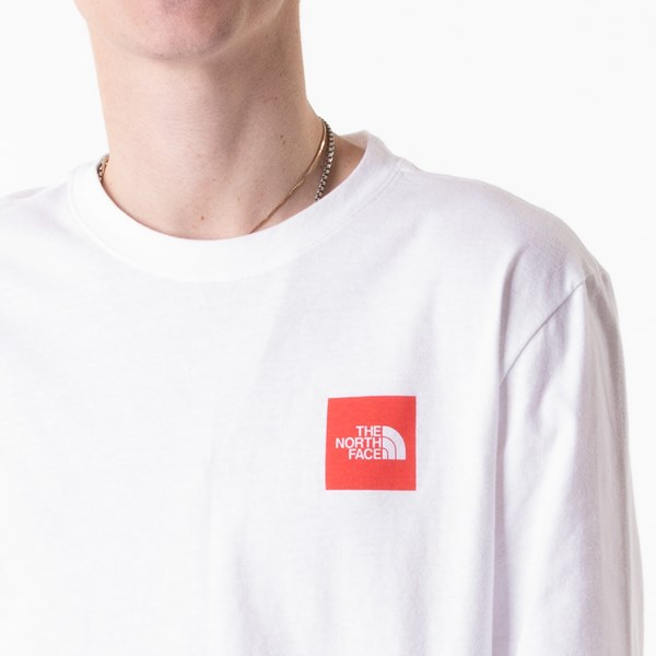 alternate image alternate view Mens The North Face Red Box Long Sleeve Tee - White / RedALT1B