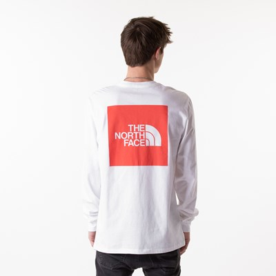Main view of Mens The North Face Red Box Long Sleeve Tee - White / Red