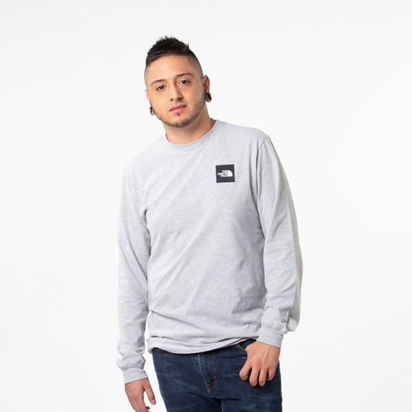 alternate image alternate view Mens The North Face Red Box Long Sleeve Tee - Heather Grey / BlackALT1