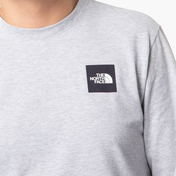alternate image alternate view Mens The North Face Red Box Long Sleeve Tee - Heather Grey / BlackALT4