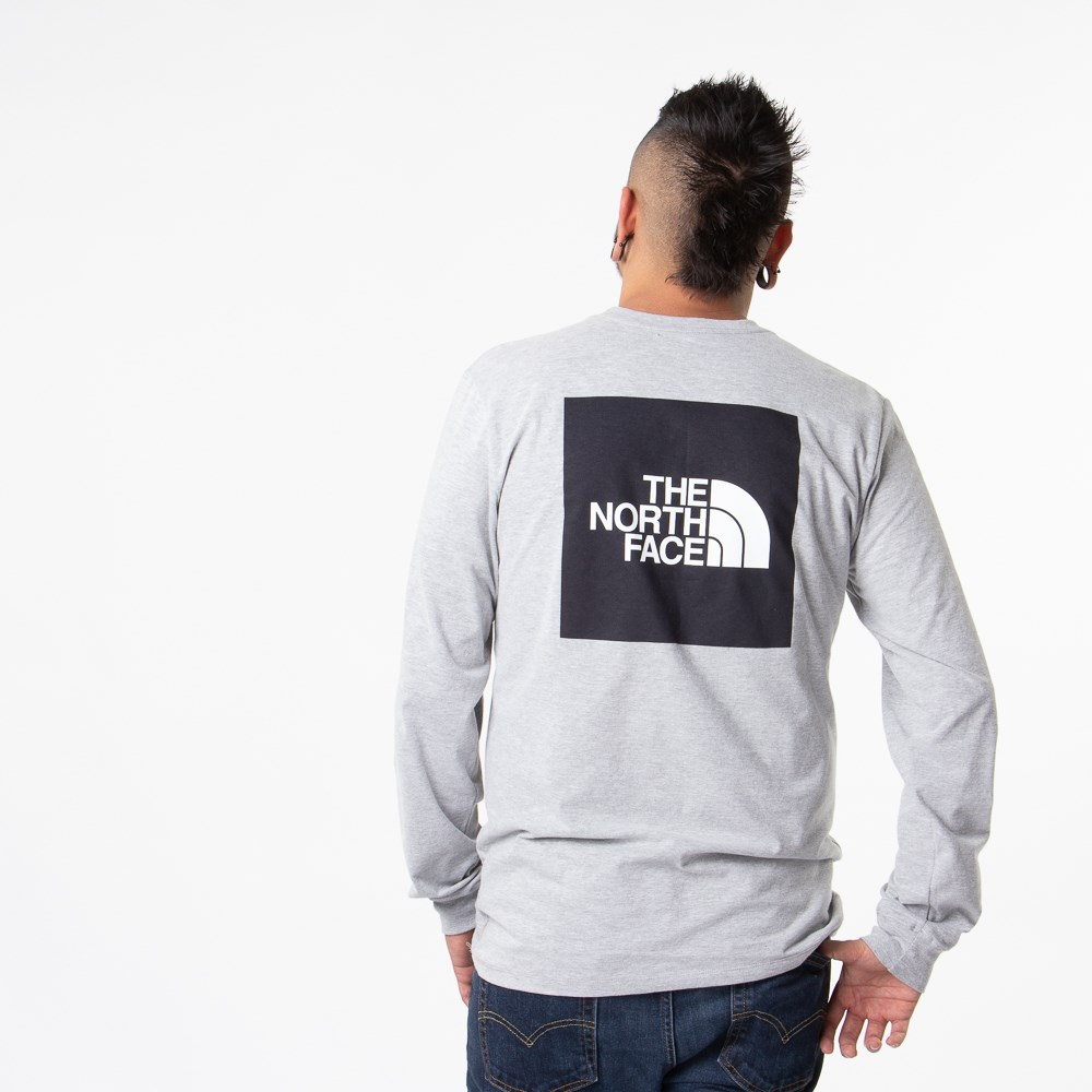 Mens The North Face Red Box Long Sleeve Tee - Heather Grey / Black