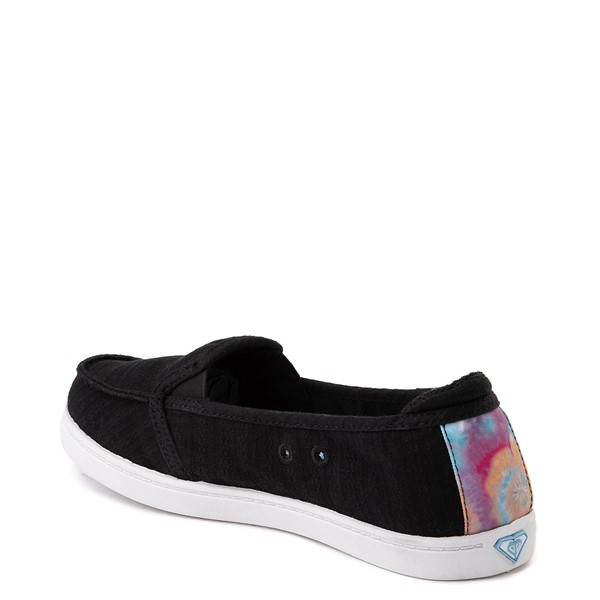 alternate image alternate view Womens Roxy Minnow Slip On Casual Shoe - Black / Tie DyeALT1