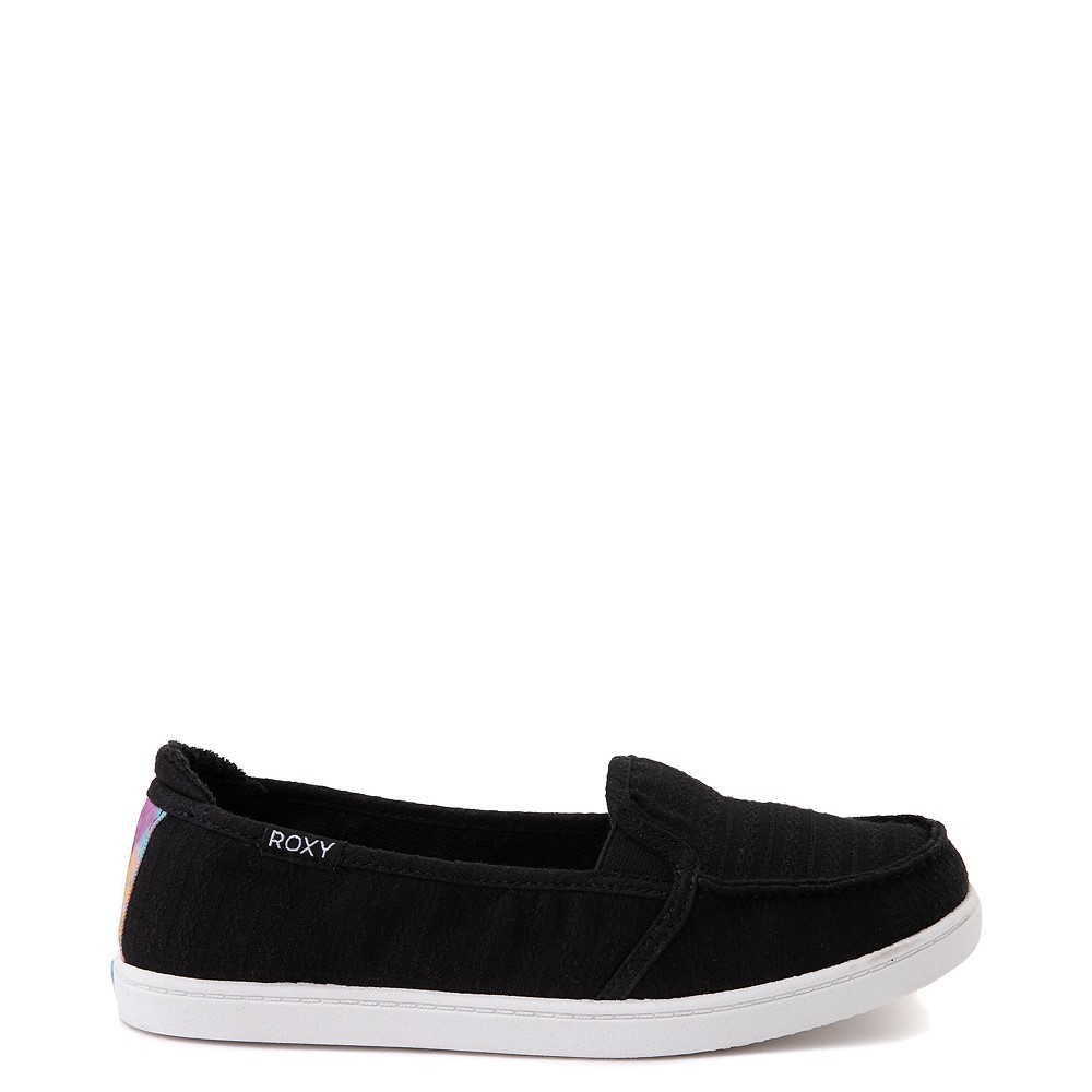 Womens Roxy Minnow Slip On Casual Shoe - Black / Tie Dye