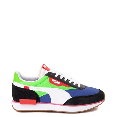 Main view of Mens Puma Future Rider Play On Athletic Shoe - Black / Blue / Green / Red