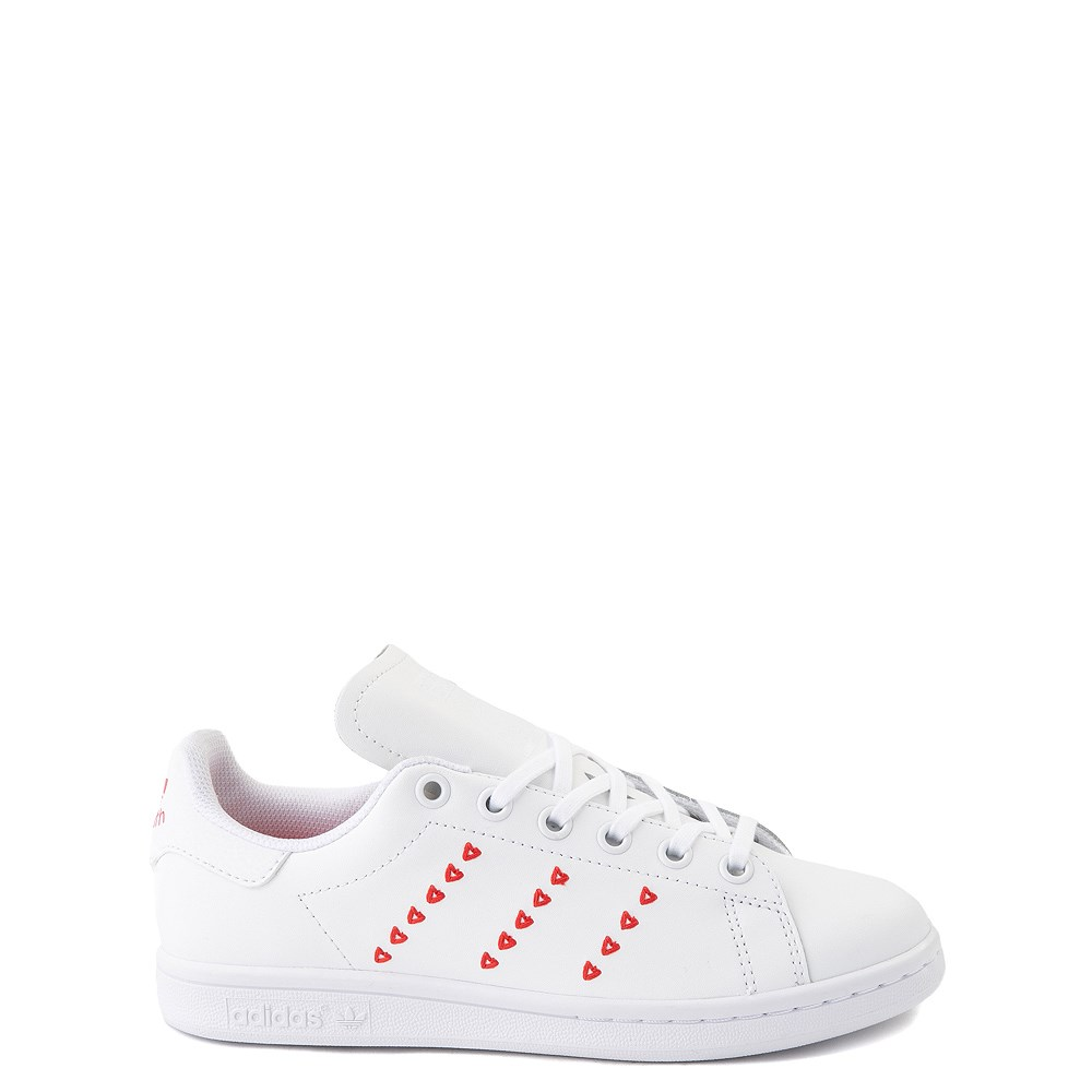 adidas Stan Smith Hearts Athletic Shoe - Big Kid - White