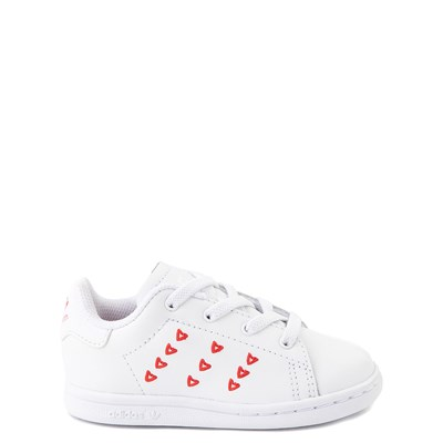 Main view of adidas Stan Smith Hearts Athletic Shoe - Baby / Toddler - White