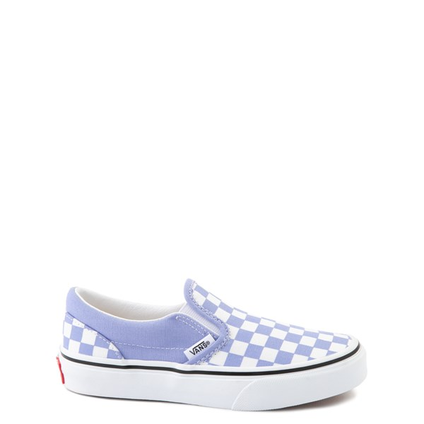 Main view of Vans Slip On Checkerboard Skate Shoe - Little Kid - Pale Iris / White
