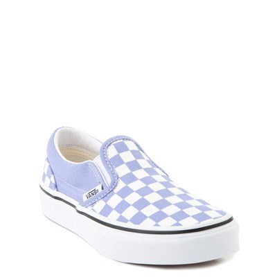 Alternate view of Vans Slip On Checkerboard Skate Shoe - Little Kid - Pale Iris / White
