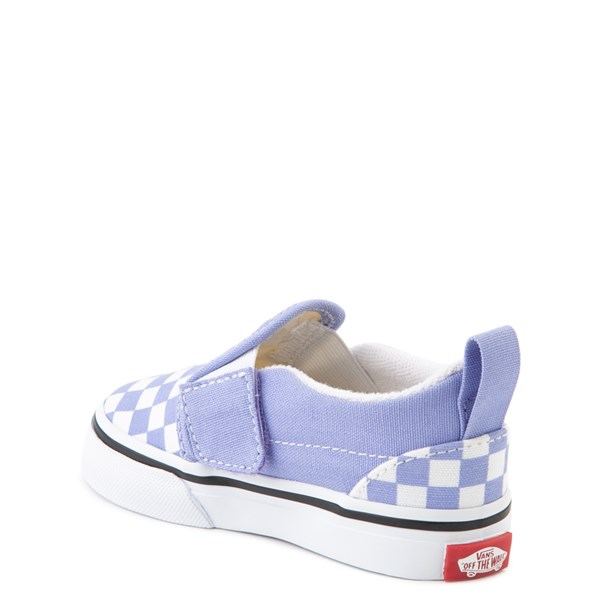 alternate image alternate view Vans Slip On V Checkerboard Skate Shoe - Baby / Toddler - Pale Iris / WhiteALT2