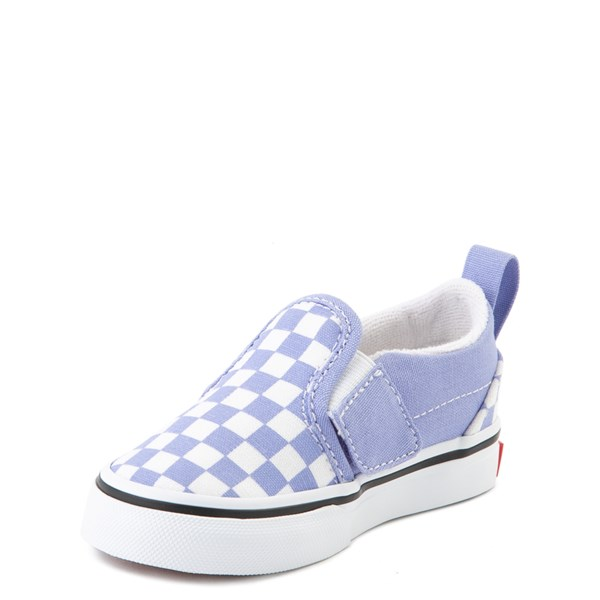 alternate image alternate view Vans Slip On V Checkerboard Skate Shoe - Baby / Toddler - Pale Iris / WhiteALT3