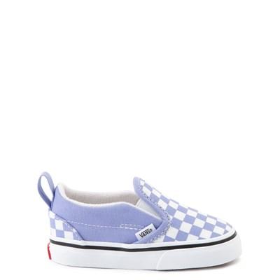 Main view of Vans Slip On V Checkerboard Skate Shoe - Baby / Toddler - Pale Iris / White