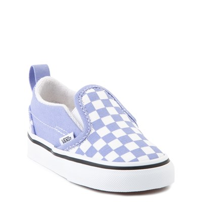 Alternate view of Vans Slip On V Checkerboard Skate Shoe - Baby / Toddler - Pale Iris / White