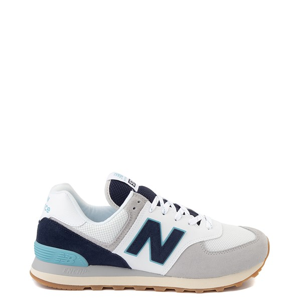 Mens New Balance 574 Athletic Shoe - Light Grey / Navy / Turquoise