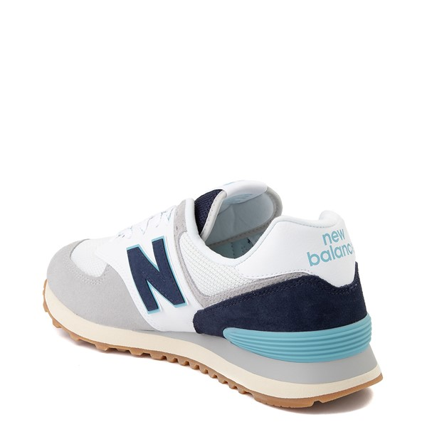 alternate image alternate view Mens New Balance 574 Athletic Shoe - Light Grey / Navy / TurquoiseALT1