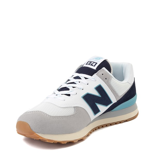 alternate image alternate view Mens New Balance 574 Athletic Shoe - Light Grey / Navy / TurquoiseALT2