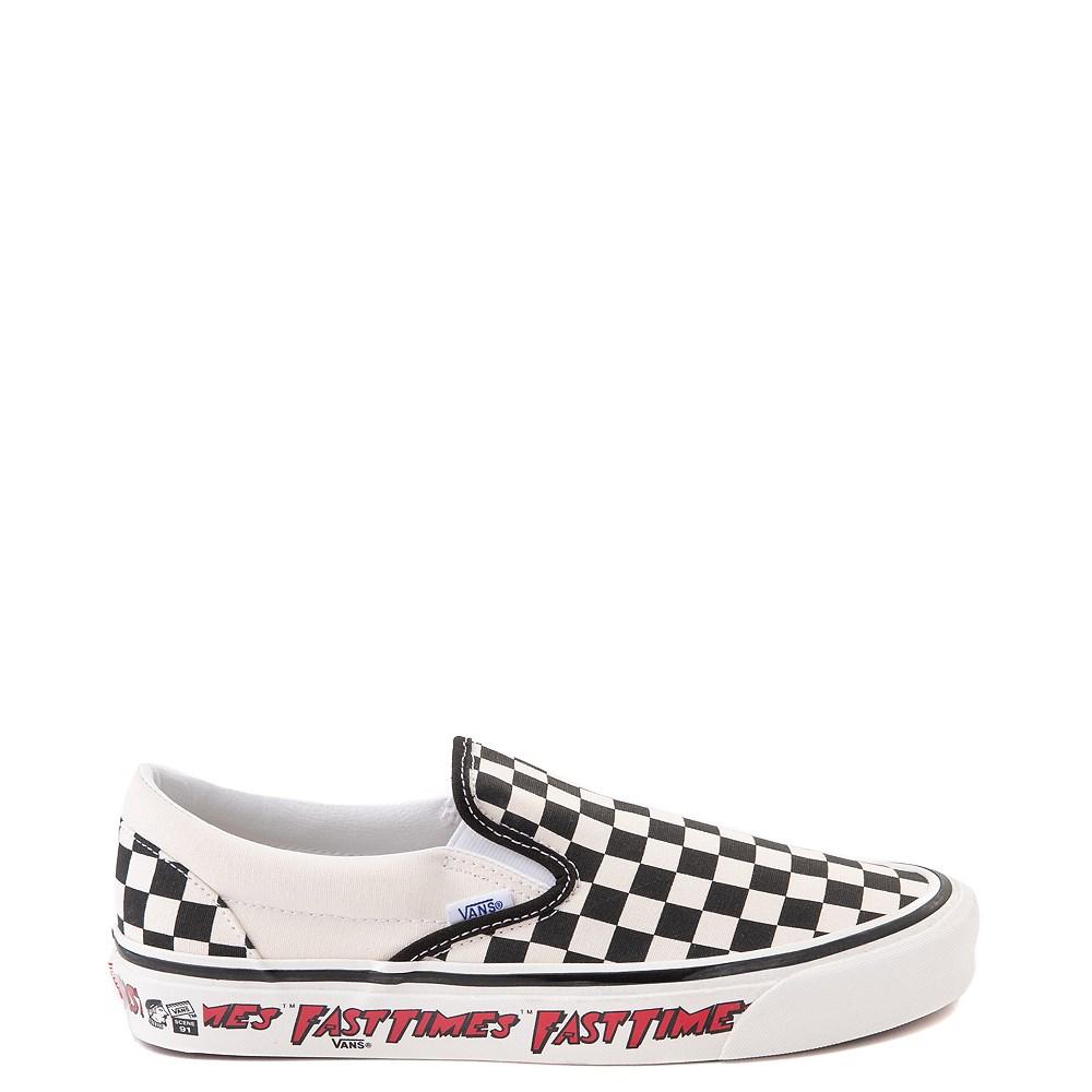 Vans Anaheim Factory Slip On Fast Times Checkerboard Skate Shoe - Black / White