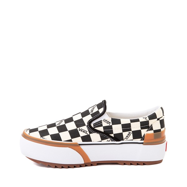 alternate image alternate view Vans Slip On Stacked Checkerboard Skate Shoe - Black / WhiteALT1