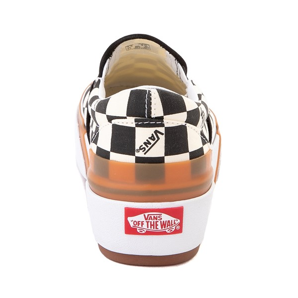 alternate image alternate view Vans Slip On Stacked Checkerboard Skate Shoe - Black / WhiteALT4
