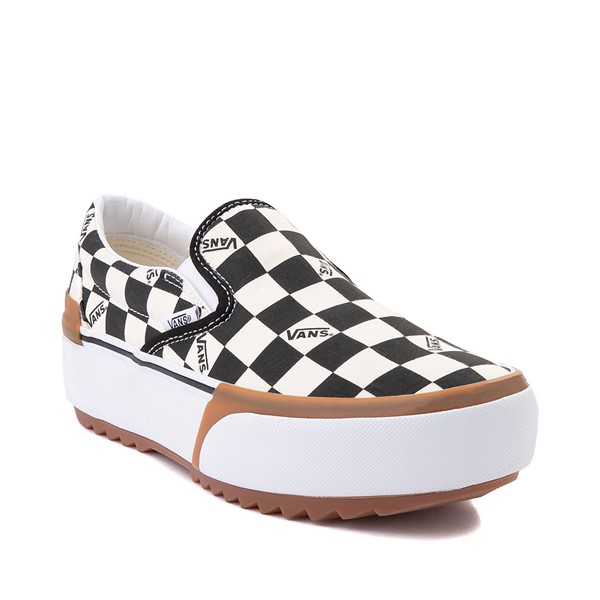 alternate image alternate view Vans Slip On Stacked Checkerboard Skate Shoe - Black / WhiteALT5