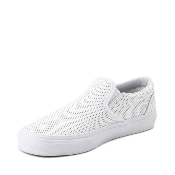 alternate image alternate view Vans Slip On Perforated Leather Skate Shoe - WhiteALT2