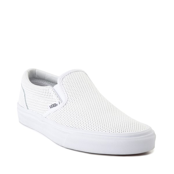 alternate image alternate view Vans Slip On Perforated Leather Skate Shoe - WhiteALT5