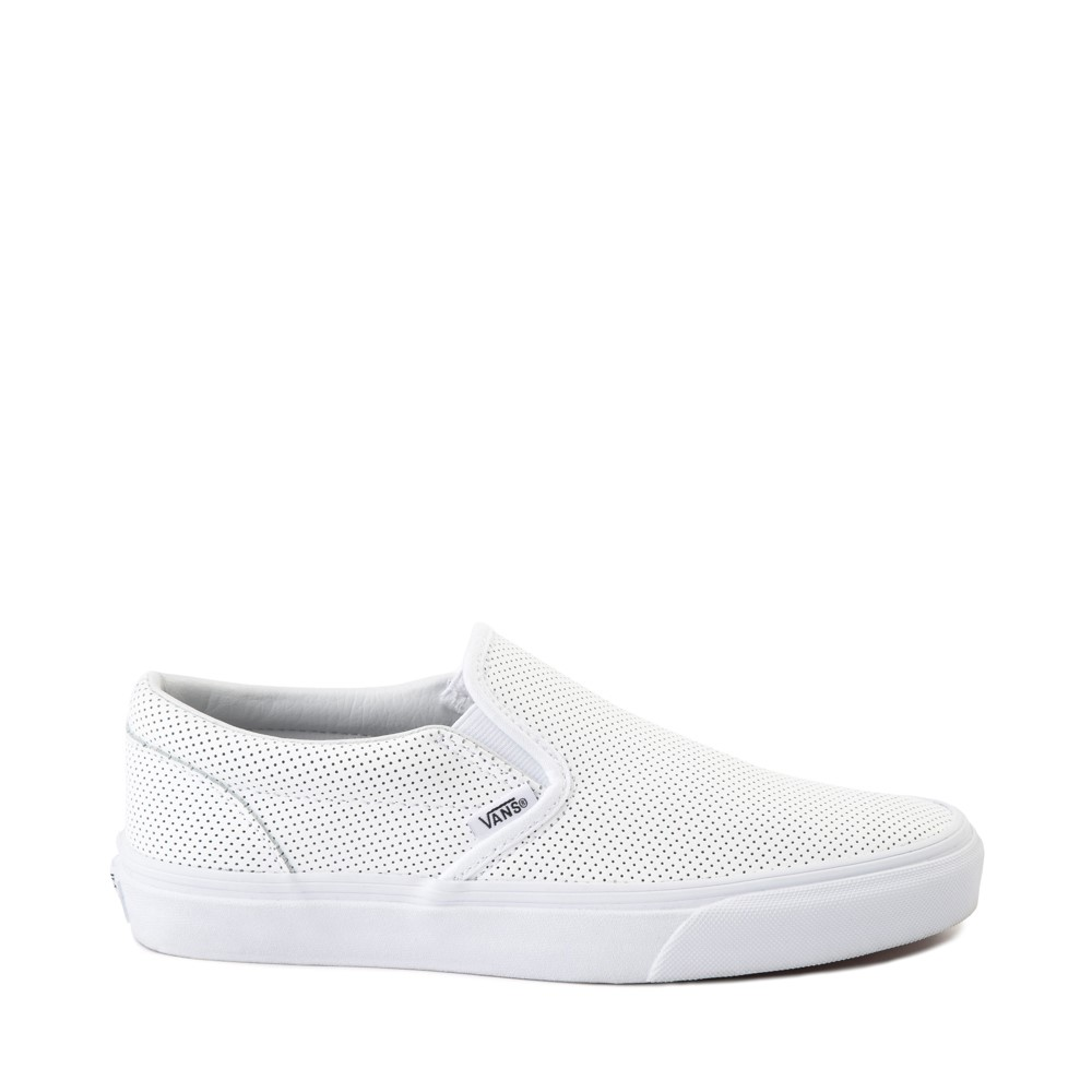 Vans Slip On Perforated Leather Skate Shoe - White