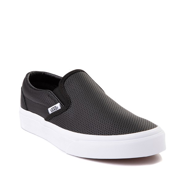 alternate image alternate view Vans Slip On Leather Perf Skate Shoe - BlackALT5