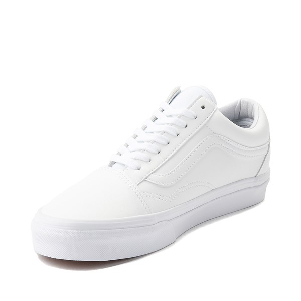 alternate image alternate view Vans Old Skool Leather Skate Shoe - White MonochromeALT2