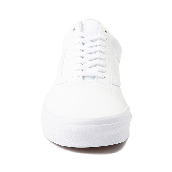 alternate image alternate view Vans Old Skool Leather Skate Shoe - White MonochromeALT4