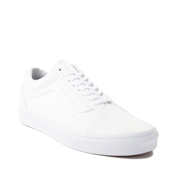 alternate image alternate view Vans Old Skool Leather Skate Shoe - White MonochromeALT5