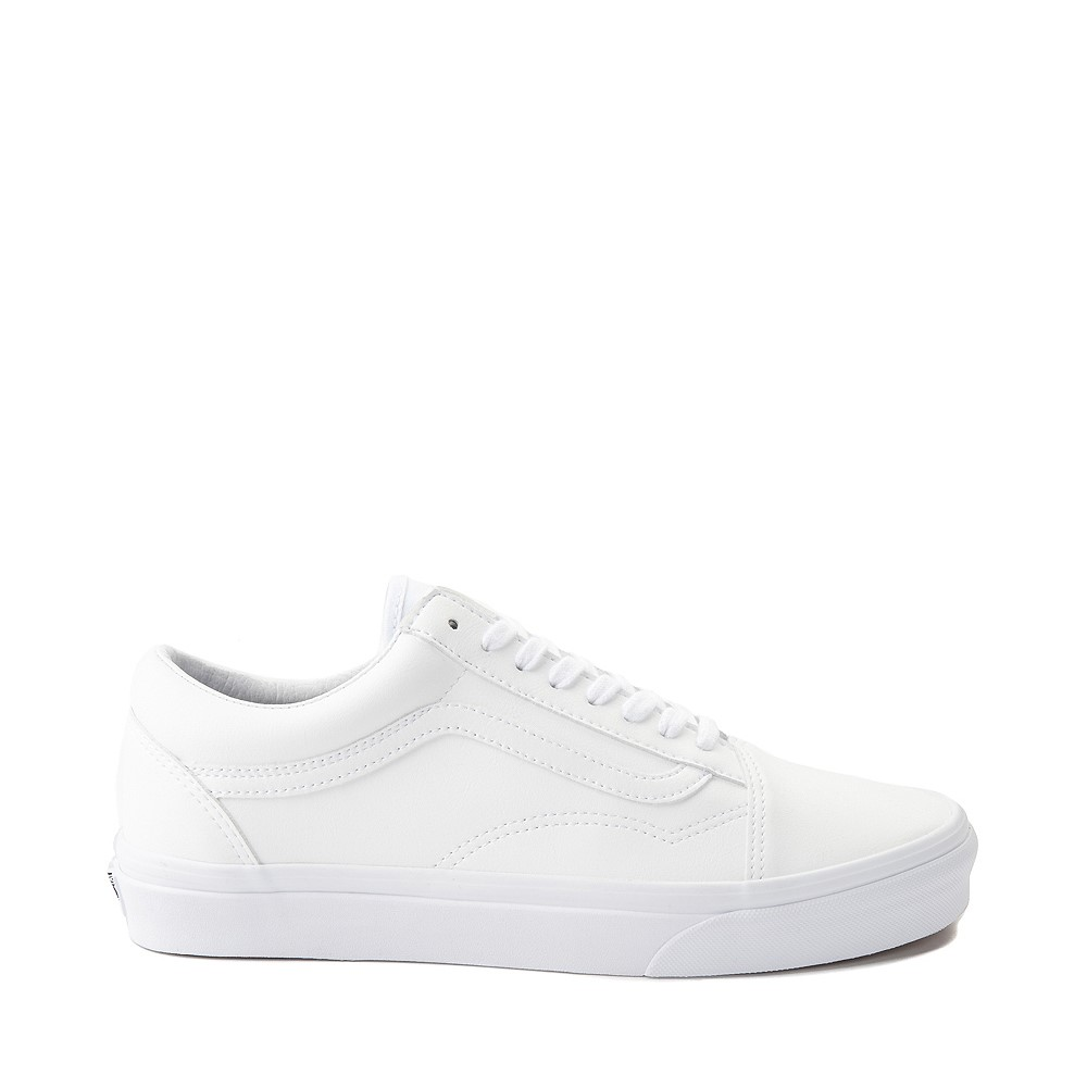 Vans Old Skool Leather Skate Shoe - White Monochrome