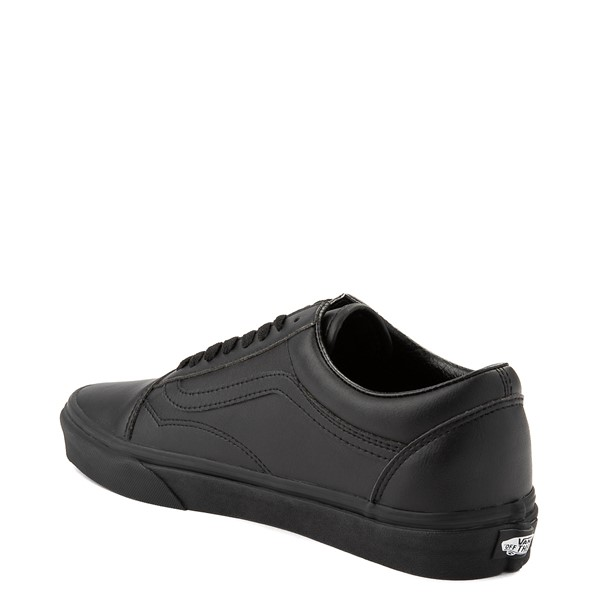 alternate image alternate view Vans Old Skool Leather Skate Shoe - Black MonochromeALT1
