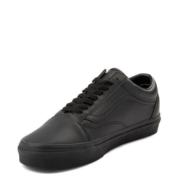 alternate image alternate view Vans Old Skool Leather Skate Shoe - Black MonochromeALT2