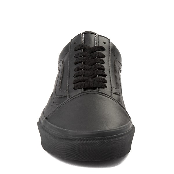 alternate image alternate view Vans Old Skool Leather Skate Shoe - Black MonochromeALT4