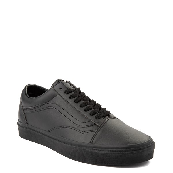 alternate image alternate view Vans Old Skool Leather Skate Shoe - Black MonochromeALT5