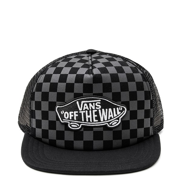 Main view of Vans Classic Patch Checkerboard Trucker Hat - Black / Grey
