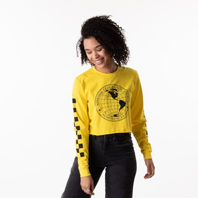Main view of Womens Vans x National Geographic Cropped Long Sleeve Tee - Yellow