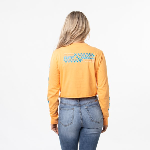 alternate image alternate view Womens Vans Highway Cropped Long Sleeve Tee - Blaze OrangeALT1