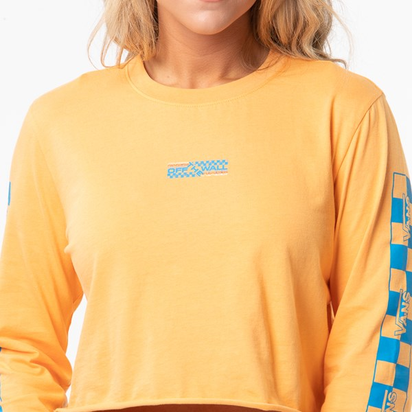 alternate image alternate view Womens Vans Highway Cropped Long Sleeve Tee - Blaze OrangeALT1B