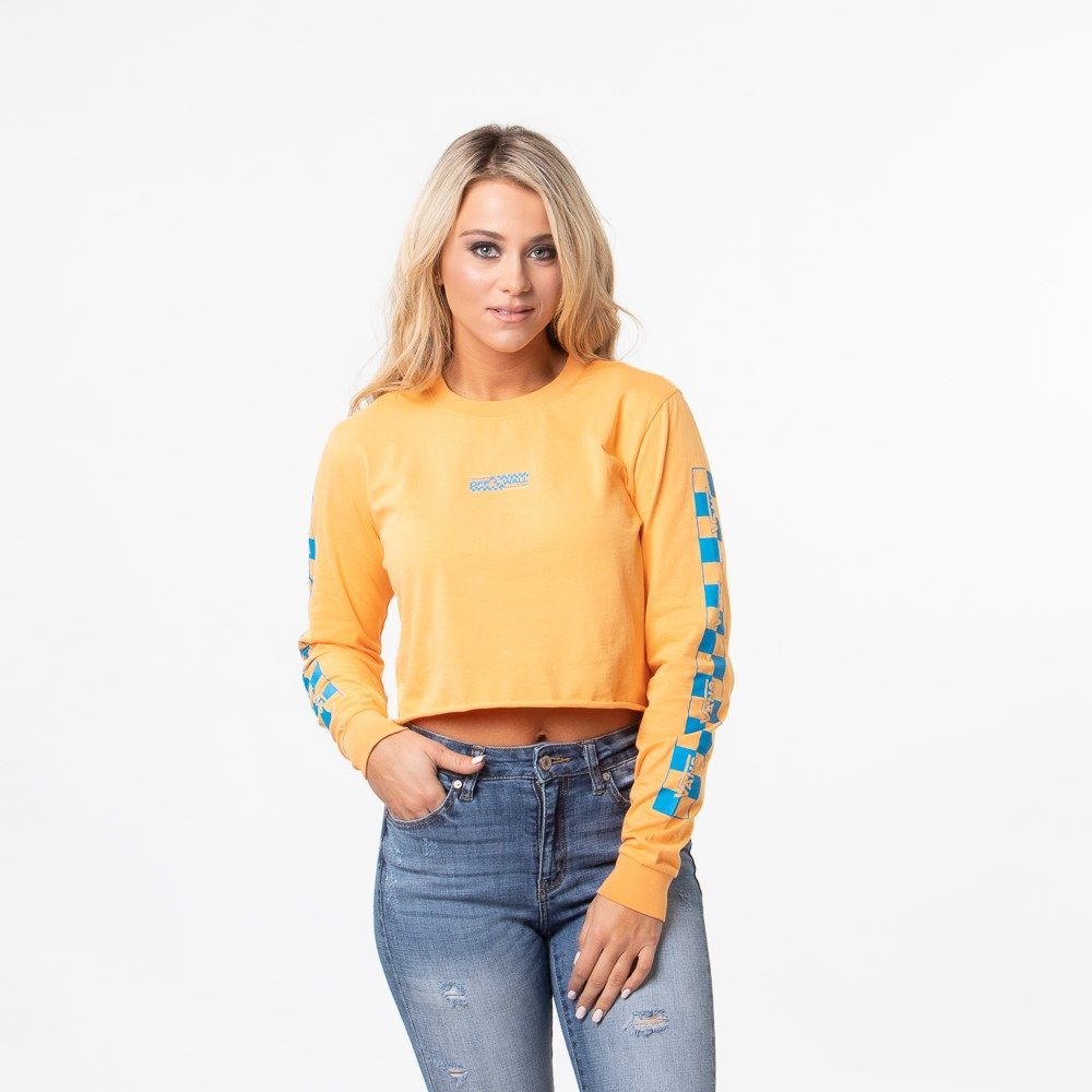 Womens Vans Highway Cropped Long Sleeve Tee - Blaze Orange