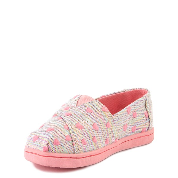 alternate image alternate view TOMS Classic Heartsy Glimmer Slip On Casual Shoe - Baby / Toddler / Little Kid - Pink / MultiALT2