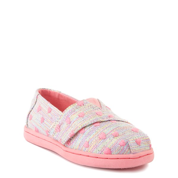 alternate image alternate view TOMS Classic Heartsy Glimmer Slip On Casual Shoe - Baby / Toddler / Little Kid - Pink / MultiALT5