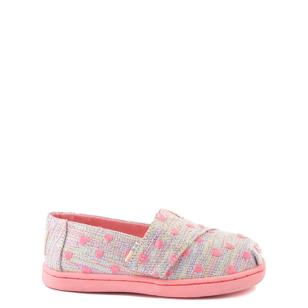 TOMS Classic Heartsy Glimmer Slip On Casual Shoe - Baby / Toddler / Little Kid - Pink / Multi