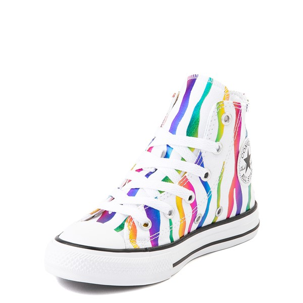 alternate image alternate view Converse Chuck Taylor All Star Hi Zebra Sneaker - Little Kid - White / RainbowALT2
