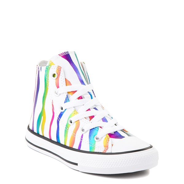 alternate image alternate view Converse Chuck Taylor All Star Hi Zebra Sneaker - Little Kid - White / RainbowALT5