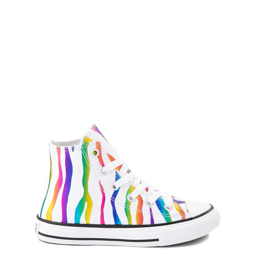 Converse Chuck Taylor All Star Hi Zebra Sneaker - Little Kid - White / Rainbow