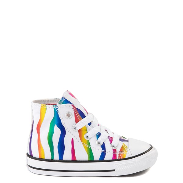 Converse Chuck Taylor All Star Hi Zebra Sneaker - Baby / Toddler - White / Rainbow