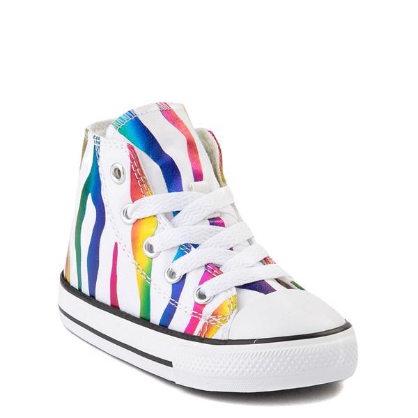alternate image alternate view Converse Chuck Taylor All Star Hi Zebra Sneaker - Baby / Toddler - White / RainbowALT5