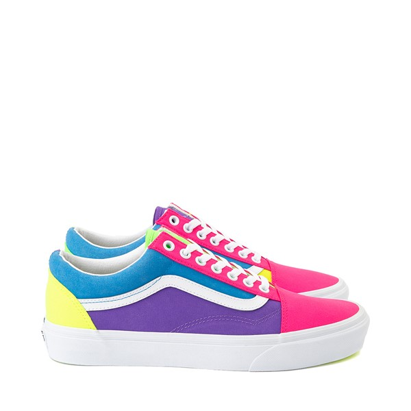 Main view of Vans Old Skool Neon Color-Block Skate Shoe - Pink / Purple / Yellow